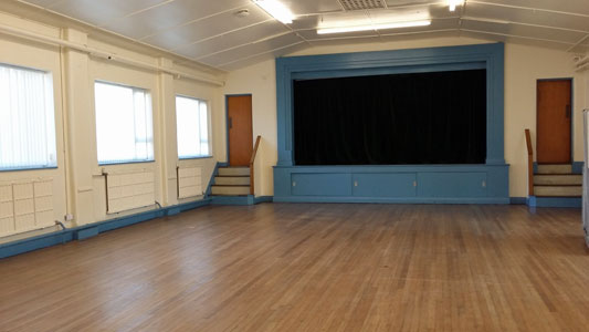 Whetstone Memorial Hall - main hall view towards stage